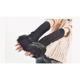 Dlouhé černé pletené rukavice bez prstů s kožíškem