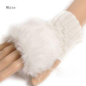 Pletené rukavice bez prstů s kožíškem bílé