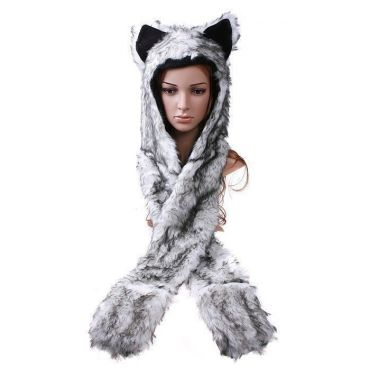 Plyšová Zvířecí čepice animal - Vlk