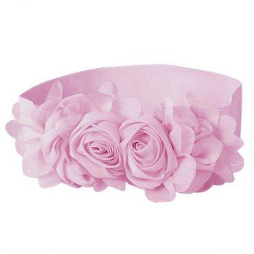 Elastický dámský růžový pásek kytička