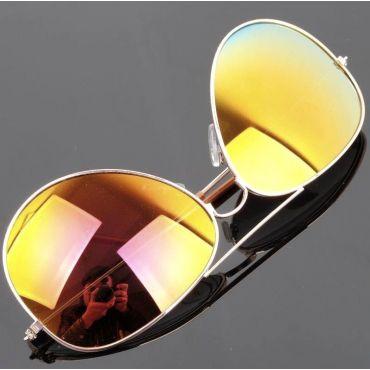 Sluneční brýle pilotky zlato-červené zrcadllové