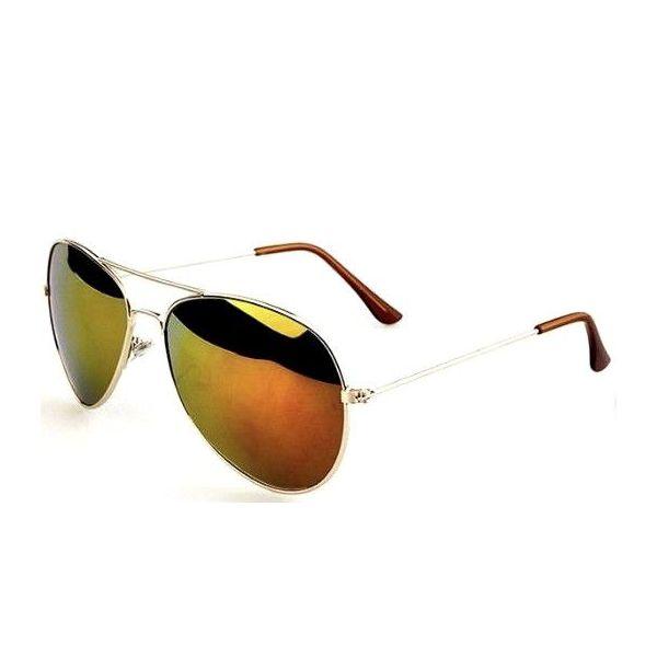 Sluneční brýle pilotky zlato-červené zrcadllové - zlatý rám