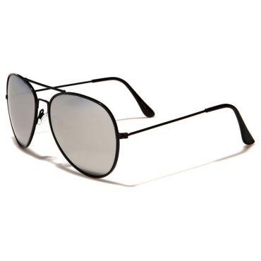Sluneční brýle pilotky zrcadllové - černý rám