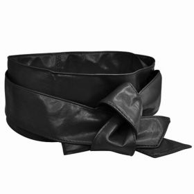 Dámský černý široký pásek z umělé kůže