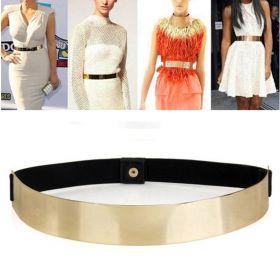 Zlatý široký kovový dámský pásek
