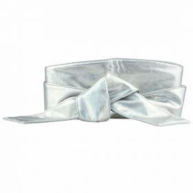 Dámský stříbrný široký pásek z umělé kůže