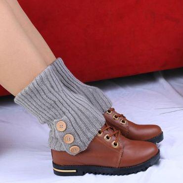 Pletené návleky na nohy šedé 40 cm