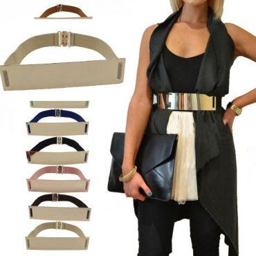 Zlatý široký kovový dámský pásek hnědý