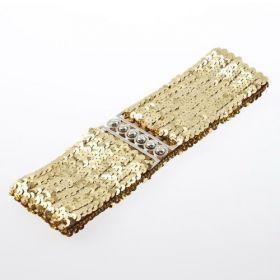 Módní pásek s flitry zlatý