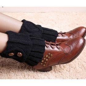 Pletené návleky na boty černé 15 cm