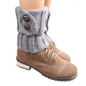 Pletené návleky na boty šedé 15 cm
