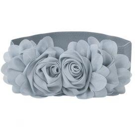 Elastický dámský šedý pásek kytička