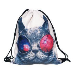 Plátěný vak s 3D potiskem Kočka s brýlemi