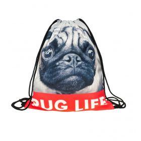 Plátěný vak s 3D potiskem Pug life