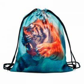 Plátěný vak s 3D potiskem Tygr pod vodou