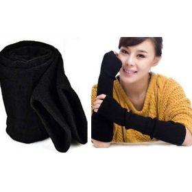 Dlouhé černé pletené rukavice bez prstů