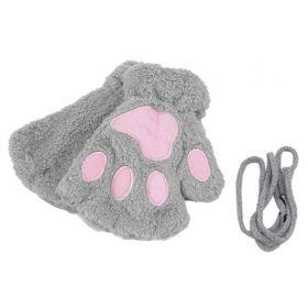 Plyšové rukavice šedé medvědí tlapky