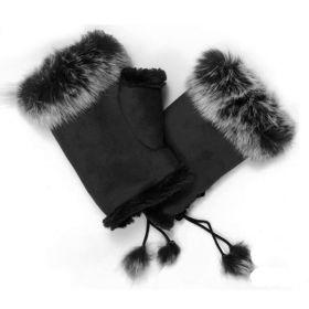 Elegantní rukavice bez prstů s kožíškem