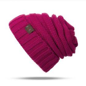 CC Dámská beanie pletená čepice Smurf Růžová