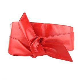 Dámský červený široký pásek z umělé kůže
