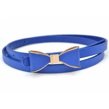 Dámský pásek s mašlí modrý