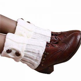 Pletené návleky na boty bílé 15 cm