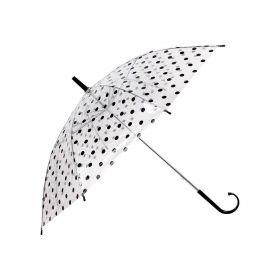 Dámský průhledný vystřelovací deštník puntíky