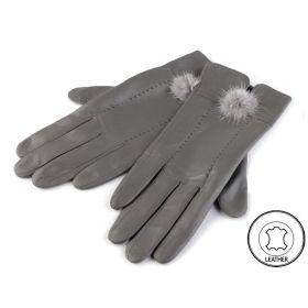 Dámské kožené rukavice šedé L