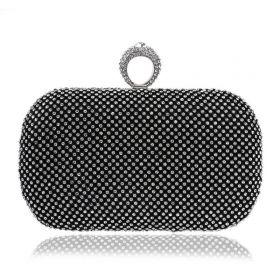 Diamond Společenská kabelka s kamínky černá