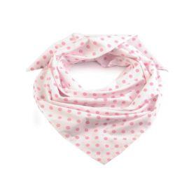 Dámský Bavlněný šátek s puntíky 65 cm Bílý Pink