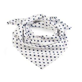 Dámský Bavlněný šátek s puntíky 65 cm Bílý black