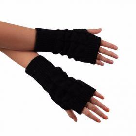 Pletené bezprsté rukavice černé