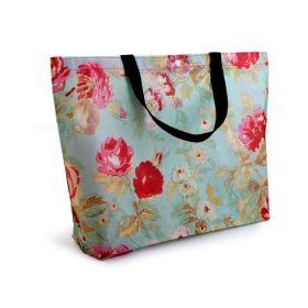Květinová nákupní taška Tyrkysová