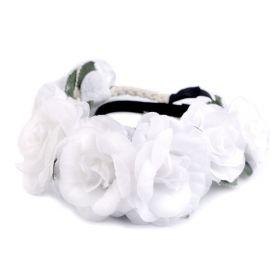 Květinová čelenka do vlasů Bílé růže