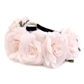 Květinová čelenka do vlasů Růžové růže