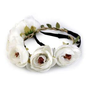 Pružná květinová čelenka do vlasů Bílá