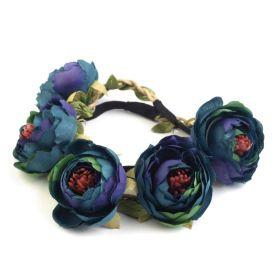 Pružná květinová čelenka do vlasů Modrá