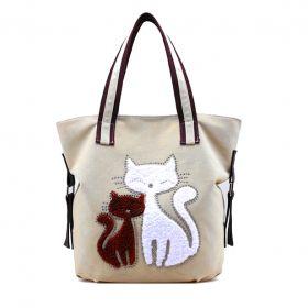 Dámská plátěná kabelka Cute Cats - béžová