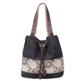 Dámská plátěná kabelka Flowers - černá