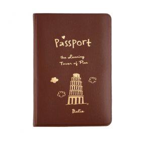Pouzdro na cestovní pas Šikmá věž v Pise hnědá