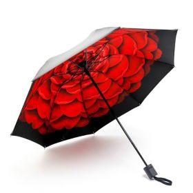Dámský skládací deštník Červené květy