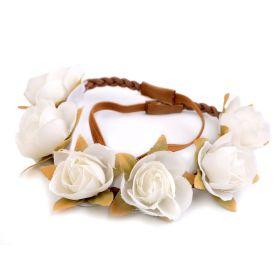 Květinová čelenka s růžičky Bílá