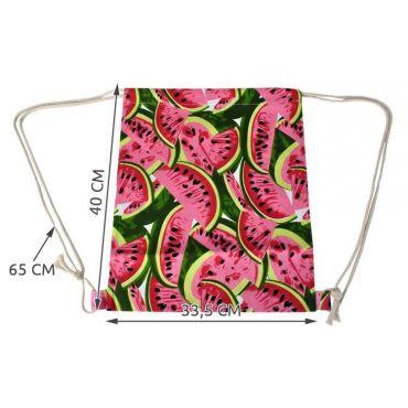 Plátěný stahovací batoh s potiskem Meloun
