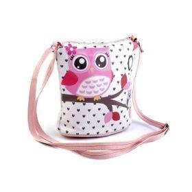 Dívčí kabelka přes rameno se sovičkami Růžová