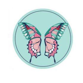 Plážový okrouhlý ručník Boho motýl modrý