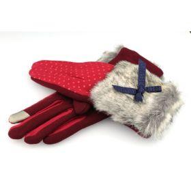 Dámské rukavice s puntíky a kožešinou Červené