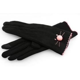Dámské rukavice s vyšívanou kočkou Černé