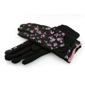 Dámské rukavice s květy Černé