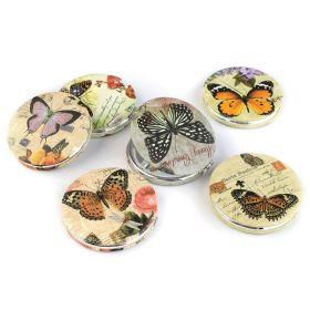 Kapesní kosmetické zrcátko zavírací Motýlek