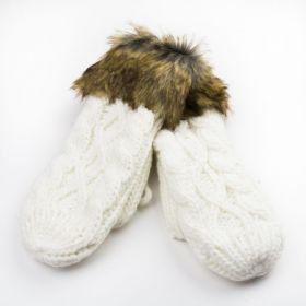 Dámské palčáky rukavice s kožíškem Bílé